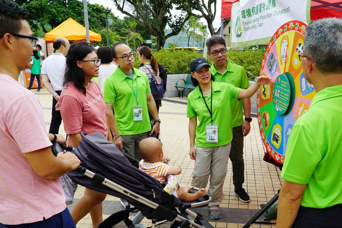 Outreaching Team of the Environmental Protection Department educates the public through game booth on promotion of waste reduction and recycling